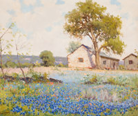 ROBERT WILLIAM WOOD (American, 1889-1979) Field of Bluebonnets Oil on canvas 20 x 24 inches (50.8