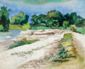 Texas:Early Texas Art - Regionalists, BROR ALEXANDER UTTER (American, 1913-1993). River Landscape,1966. Pen and watercolor on paper. 18 x 22 inches (45.7 x 5...