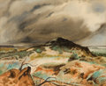 Texas:Early Texas Art - Regionalists, CHARLES TAYLOR BOWLING (American, 1891-1985). Storm Over theHillside. Watercolor on paper . 9-1/2 x 11-3/4 inches (24.1...