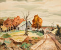 Texas:Early Texas Art - Regionalists, CHARLES TAYLOR BOWLING (American, 1891-1985). Landscape withFarm House. Watercolor on paper. 9-1/2 x 11-3/4 inches (24....