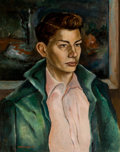 Texas:Early Texas Art - Modernists, BARNEY DELABANO (American, 1926-1997). Portrait of a YoungMan, 1941. Oil on masonite. 20 x 16 inches (50.8 x 40.6 cm)....