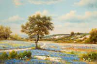 WILLIAM ROBERT THRASHER (American, 1908-1997) Field of Bluebonnets with Trees Oil on canvas 24 x