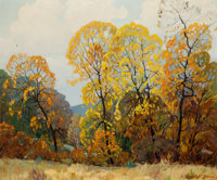 DWIGHT HOLMES (American, 1900-1986) Texas Autumn Landscape Oil on canvas 20 x 25 inches (50.8 x 6