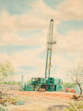 Texas:Early Texas Art - Regionalists, WARNER HOOPLE (American, 1904-1989). Oil Rig, 1956.Watercolor on paper. 24-1/4 x 18-1/2 inches (61.6 x 47.0 cm).Signed...