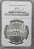 Modern Issues: , 1992-D $1 White House Silver Dollar MS70 NGC. NGC Census: (505).PCGS Population (188). Mintage: 123,803. Numismedia Wsl. P...
