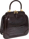 Luxury Accessories:Bags, Judith Leiber Chocolate Shiny Alligator Top-Handle Tote. ...(Total: 2 Items)