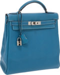Luxury Accessories:Bags, Hermes Blue Jean Clemence Leather Kelly Ado Backpack with PalladiumHardware. ...