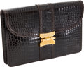 Luxury Accessories:Bags, Hermes Shiny Havana Crocodile Clutch with Gold Hardware andShoulder Strap. ...