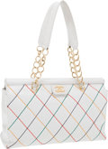Luxury Accessories:Bags, Chanel White Caviar Leather Shoulder Tote with Multicolor DiamondStitching. ... (Total: 2 Items)