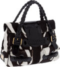 Luxury Accessories:Bags, Valentino Black & White Pony Hair and Black Patent Leather TrimBag. ... (Total: 2 Items)