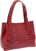 Luxury Accessories:Bags, Nancy Gonzalez Red Shiny Crocodile Double Handle Tote. ... (Total:2 Items)