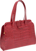 Luxury Accessories:Bags, Nancy Gonzalez Red Shiny Crocodile A-Frame Tote. ... (Total: 2Items)