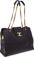 Luxury Accessories:Bags, Chanel Black Lambskin Vintage Oversize Overnight Bag. ... (Total: 2Items)