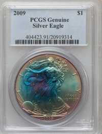 2009 $1 Silver Eagle Genuine PCGS. The PCGS number ending in .91 suggests questionable color as the reason, or perhaps o...