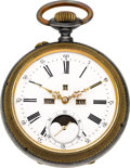 Timepieces:Pocket (pre 1900) , Swiss Digital Calendar With Moon Phase. ...