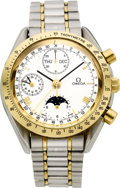 Timepieces:Wristwatch, Omega Steel & Gold Automatic Chronograph, Triple Calendar, Moon Phase. ...