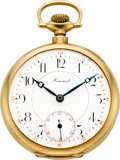 Timepieces:Pocket (post 1900), E. Howard 14k Gold 21 Jewel Series 10 With Original Box. ...