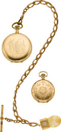 Timepieces:Pocket (post 1900), Two Elgin Pocket Watches, Chain & Fob. ... (Total: 2 Items)
