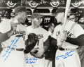 Autographs:Photos, Circa 1990 Snider, Reese & Mantle Signed Oversized Photographwith Nicknames....