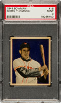 Baseball Cards:Singles (1940-1949), 1949 Bowman Bobby Thomson #18 PSA Mint 9 - Pop Four, NoneHigher....
