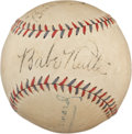 Autographs:Baseballs, Late 1920's Babe Ruth & Brick Owens Signed Baseball--The Ump HePunched!...