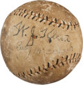 Baseball Collectibles:Balls, 1922 World Series Game Used Baseball Signed by Umpiring CrewIncluding Klem....