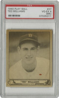 Baseball Cards:Singles (1940-1949), 1940 Play Ball Ted Williams #27 PSA VG-EX 4. While this desirableTed Williams card grades a wholly respectable VG-EX, PSA ...