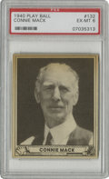 Baseball Cards:Singles (1940-1949), 1940 Play Ball Connie Mack #132 PSA EX-MT 6. Tough to find in suchhigh grades, this PSA 6 card from the 1940 Play Ball iss...