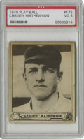 Baseball Cards:Singles (1940-1949), 1940 Play Ball Christy Mathewson #175 PSA VG 3. Yet another fromthe procession of graded Hall of Fame cards from the 1940 ...