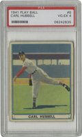 Baseball Cards:Singles (1940-1949), 1941 Play Ball Carl Hubbell #6 PSA VG-EX 4. The Carl Hubbell cardwe see here is a fabulous example of the color handling t...