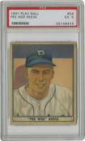 Baseball Cards:Singles (1940-1949), 1941 Play Ball Pee Wee Reese #54 PSA EX 5. Beautiful PSA EX rookie card seen here is the Hall of Fame Dodger Pee Wee Reese'...