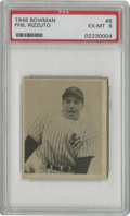 Baseball Cards:Singles (1940-1949), 1948 Bowman Phil Rizzuto #8 PSA EX-MT 6. The short-printed rookie Phil Rizzuto card from the '48 Bowman issue is a tough fi...
