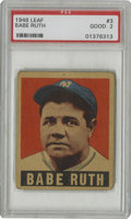 Baseball Cards:Singles (1940-1949), 1948-49 Leaf Babe Ruth #3 PSA Good 2. Babe Ruth's final major issuecard, part of the tough 1948-49 Leaf set....