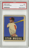 Baseball Cards:Singles (1940-1949), 1948-49 Leaf Stan Musial #4 PSA VG-EX 4. Tough rookie from Stan theMan Musial. Outstanding color retention and nice cente...
