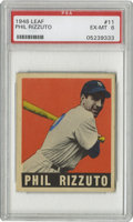 Baseball Cards:Singles (1940-1949), 1948-49 Leaf Phil Rizzuto #11 PSA EX-MT 6. Few examples from the1948-49 Leaf issue display centering this nice. Strong col...