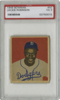 Baseball Cards:Singles (1940-1949), 1949 Bowman Jackie Robinson #50 PSA VG 3. The 1949 Bowman set wasone of the first issues to feature prominent black player...