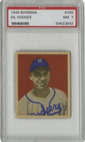 Baseball Cards:Singles (1940-1949), 1949 Bowman Gil Hodges #100 PSA NM 7. Tremendous Near Mint rookiecard of the great Gil Hodges is offered here, with amazin...