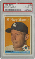 Baseball Cards:Singles (1950-1959), 1958 Topps Mickey Mantle #150 PSA EX-MT 6. The key to thisimportant set, Mantle's entry in the 1958 Topps issue here rates...