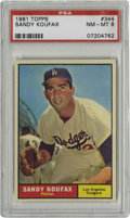 Baseball Cards:Singles (1960-1969), 1961 Topps Sandy Koufax #344 PSA NM-MT 8. Issued at the beginningof Sandy Koufax' stunning rule over the NL in the 1960s, ...