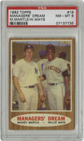 Baseball Cards:Singles (1960-1969), 1962 Topps Managers' Dream M.Mantle/W.Mays #18 PSA NM-MT 8. On a card that features perhaps the two most adept ballplayers ...