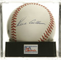 Autographs:Baseballs, Richie Ashburn Single Signed Baseball, PSA NM-MT 8. The Hall ofFame outfielder for the Whiz Kids adds his side panel signa...