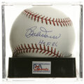 "Autographs:Baseballs, Bobby Doerr ""HOF 86"" Single Signed Baseball, PSA Mint+ 9.5.Reference is made to Bob Doerr's HOF inclusion with his fine si..."