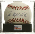 Autographs:Baseballs, Jim Catfish Hunter Single Signed Baseball, PSA NM-MT+ 8.5. HOFhurler with a perfect game under his belt, Catfish Hunter ha...