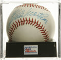 Autographs:Baseballs, Eddie Mathews Single Signed Baseball, PSA NM-MT 8. Eddie Mathews,the 500 Home Run Club member, has signed this ONL (Colema...