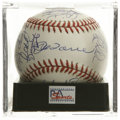 Autographs:Baseballs, 2000 New York Yankees Team Signed Baseball, PSA Mint 9. The newmillennium was celebrated in New York when the Yankees clas...