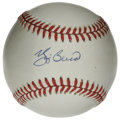 Autographs:Baseballs, Yogi Berra Single Signed Baseball. Quirky Yankees backstop YogiBerra has applied his Hall of Fame signature to the OAL (Br...