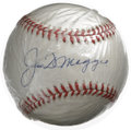 Autographs:Baseballs, Joe DiMaggio Single Signed Baseball. During his stay at baseball'stop level with the New York Yankees, Joe D showed off an...