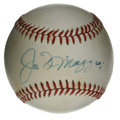 Autographs:Baseballs, Joe DiMaggio Single Signed Baseball. The Yankee Clipper took the nation by storm with his tremendous competence in centerfi...