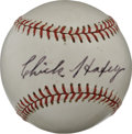 Autographs:Baseballs, Chick Hafey Single Signed Baseball. This tough hard-hitting sluggerplied his trade with the Cardinals and Reds, smashing h...