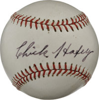 Chick Hafey Single Signed Baseball. This tough hard-hitting slugger plied his trade with the Cardinals and Reds, smashin...
